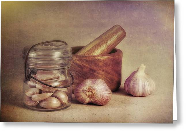 Garlic In A Jar Greeting Card by Tom Mc Nemar