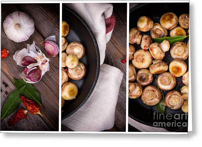Garlic Mushrooms Triptych Greeting Card by Jane Rix