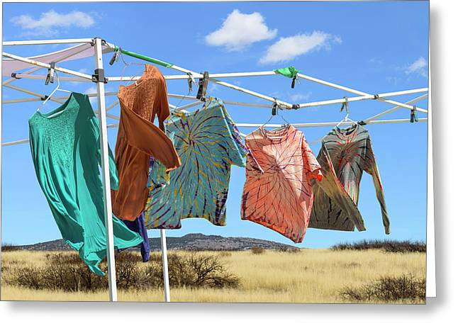 Greeting Card featuring the photograph Garment Party by Jon Exley