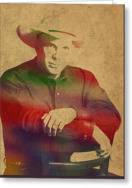 Garth Brooks Watercolor Portrait Greeting Card by Design Turnpike
