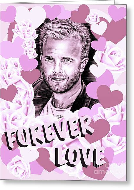 Gary Barlow Forever Love In Pink Greeting Card by Gitta Glaeser