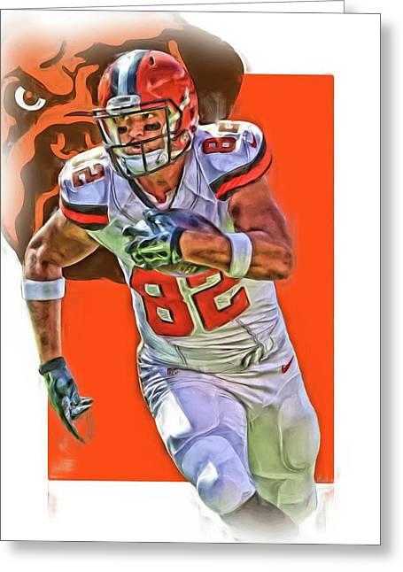 Gary Barnidge Cleveland Browns Oil Art Greeting Card