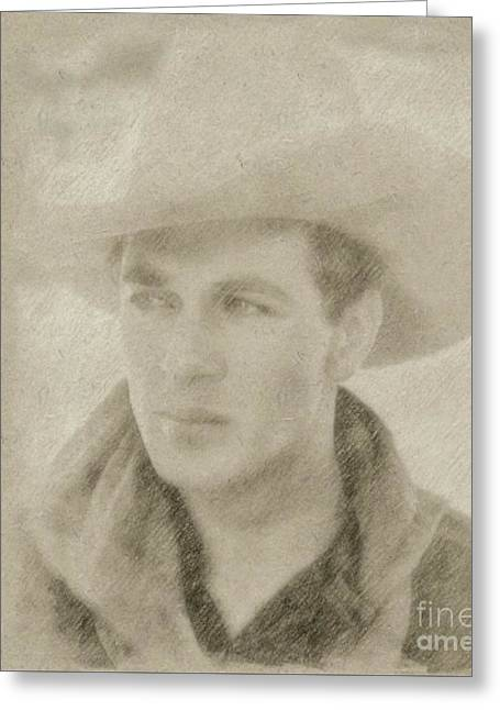 Gary Cooper Vintage Hollywood Star Greeting Card by Frank Falcon
