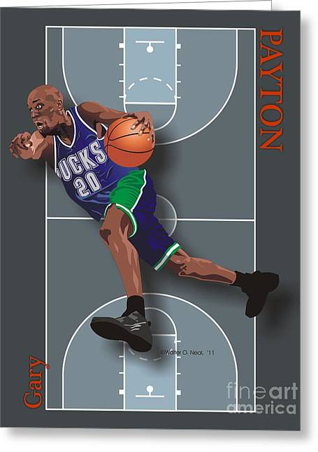 Gary Payton Greeting Card by Walter Oliver Neal