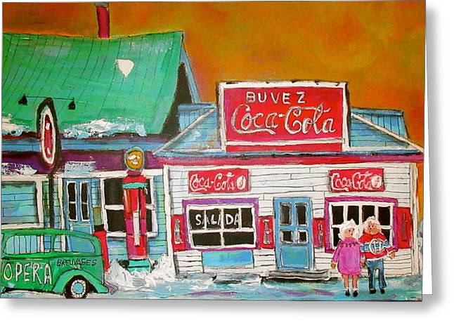 Gas And Coke St. Agathe Memories Greeting Card by Michael Litvack