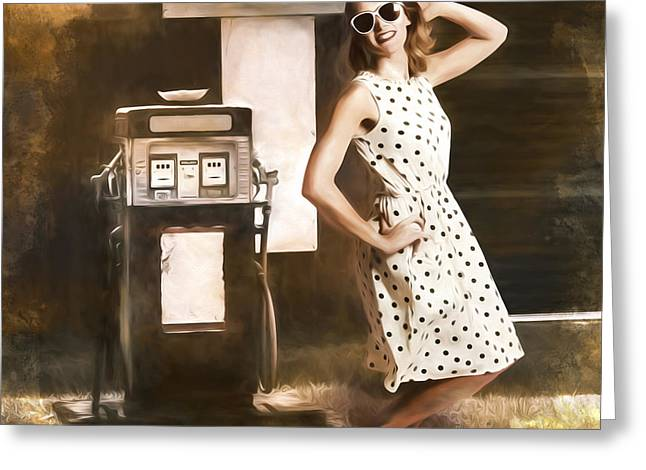 Gas And Oil Painting Pinup  Greeting Card by Jorgo Photography - Wall Art Gallery