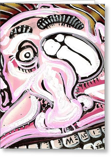 Gas Face Greeting Card by Robert Wolverton Jr