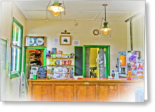 Gas Lamp Cafe Greeting Card by Gerry Walden