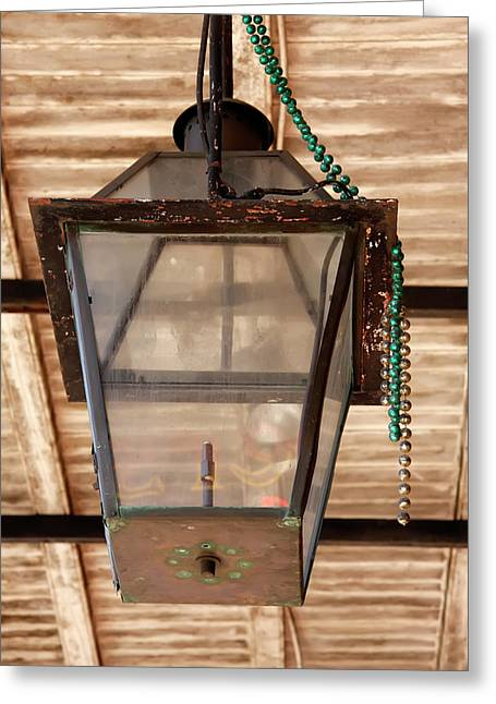Greeting Card featuring the photograph Gas Lamp French Quarter by KG Thienemann