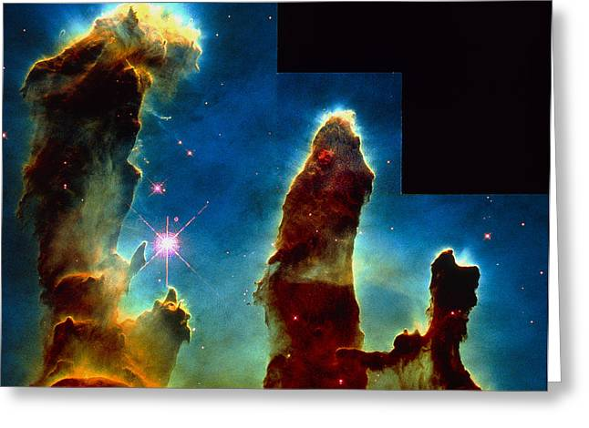 Gas Pillars In Eagle Nebula Greeting Card