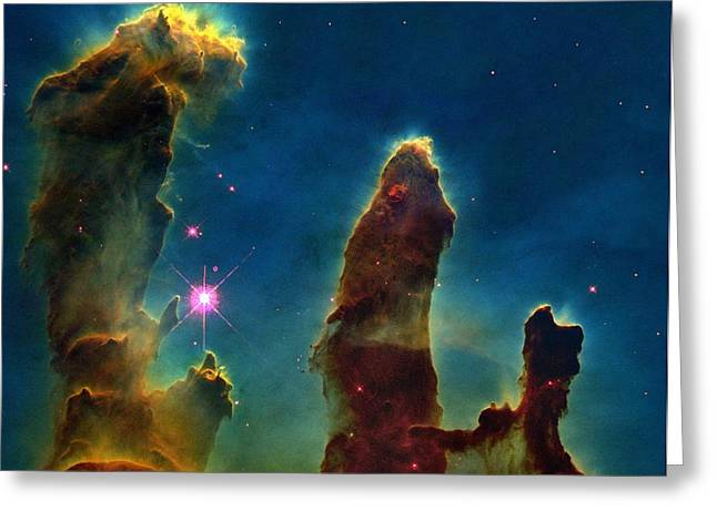 Gas Pillars In The Eagle Nebula Greeting Card by Nasaesastscij.hester & P.scowen, Asu