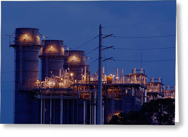 Greeting Card featuring the photograph Gas Power Plant At Night by Bradford Martin