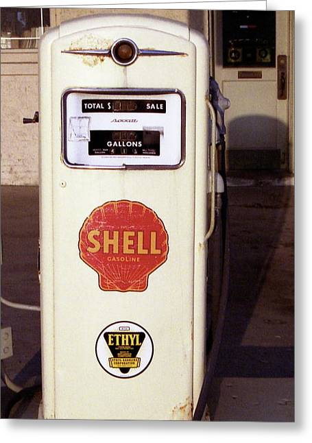 Gas Pump Greeting Card by Michael Peychich