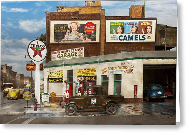 Gas Station - Benton Harbor Mi - Indian Trails Gas Station 1940 Greeting Card by Mike Savad