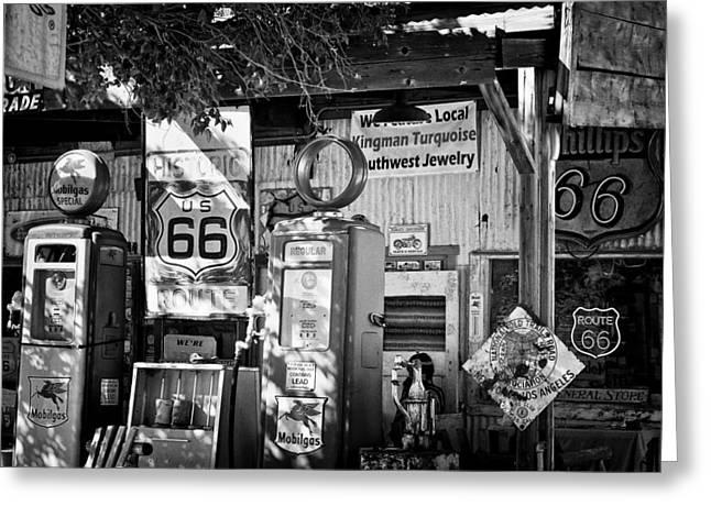 Gas Station On Route 66 Greeting Card by Hideaki Sakurai
