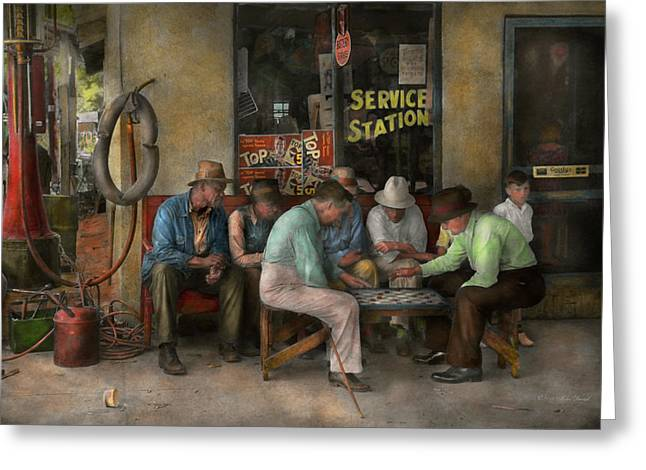 Gas Station - Playing Checkers Together 1939 Greeting Card by Mike Savad