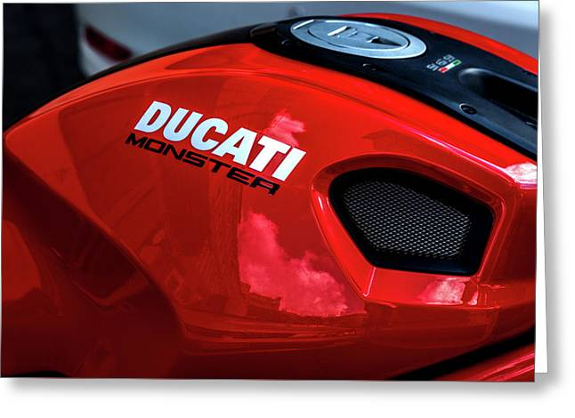 Gas Tank Ducati Monster Greeting Card by Xavier Cardell