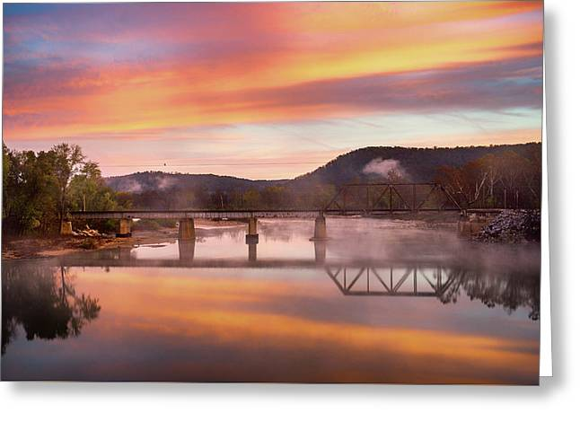 Gasconade River Sunrise Greeting Card by Jae Mishra