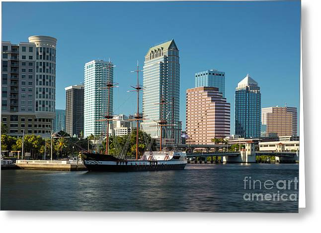 Gasparilla Pirate Ship And Tampa Skyline Greeting Card