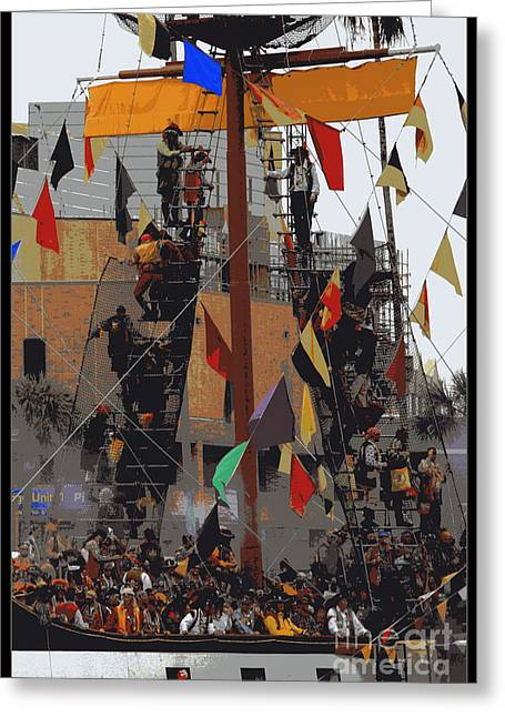 Gasparilla Ship Poster Greeting Card by Carol Groenen