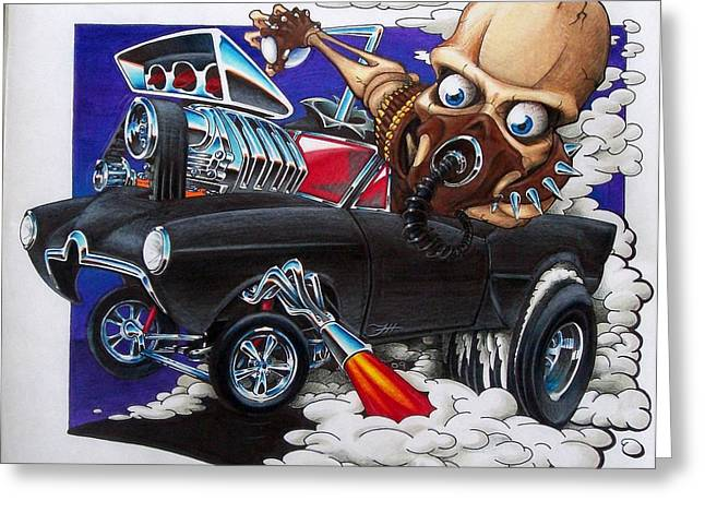 Gasser Greeting Card by Jason Hunt