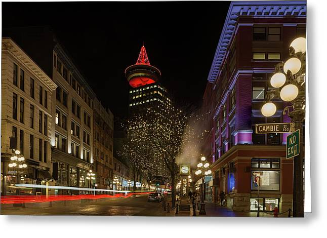 Gastown In Vancouver Bc At Night Greeting Card