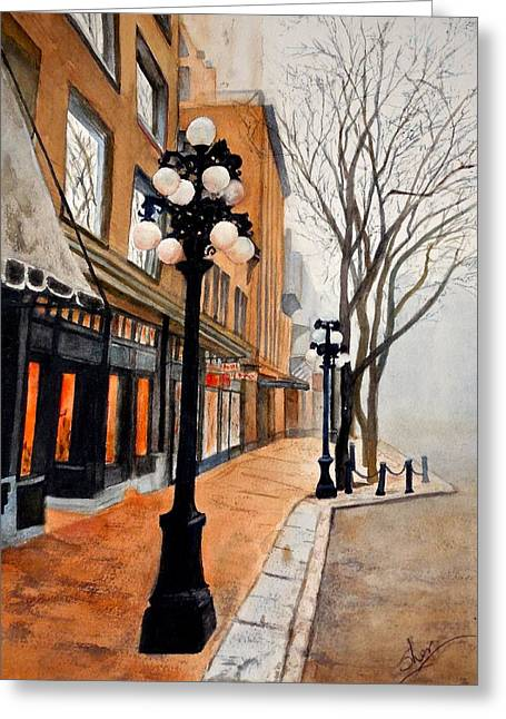 Greeting Card featuring the painting Gastown, Vancouver by Sher Nasser
