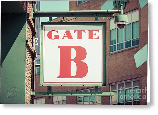 Gate B Sign At Boston Fenway Park Greeting Card by Paul Velgos