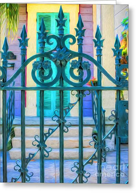 Gate Entrance-nola-painted Greeting Card by Kathleen K Parker