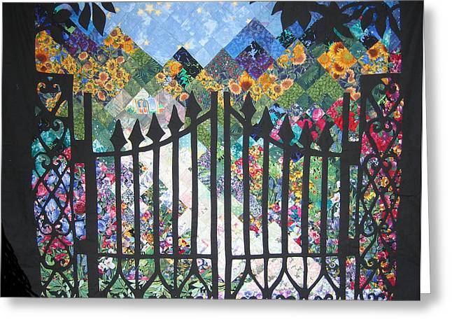 Path Tapestries - Textiles Greeting Cards - Gate into the Garden Greeting Card by Sarah Hornsby