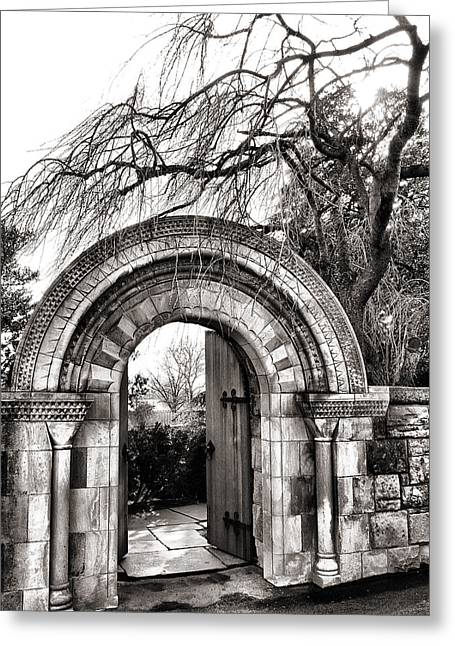 Gate To Bishop's Garden Greeting Card by Steven Ainsworth