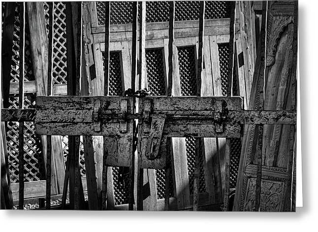Gate To The Salvage Yard Greeting Card by Stuart Litoff
