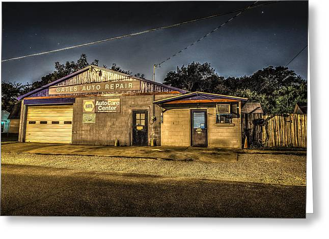 Gates Auto Repair Greeting Card by David Morefield