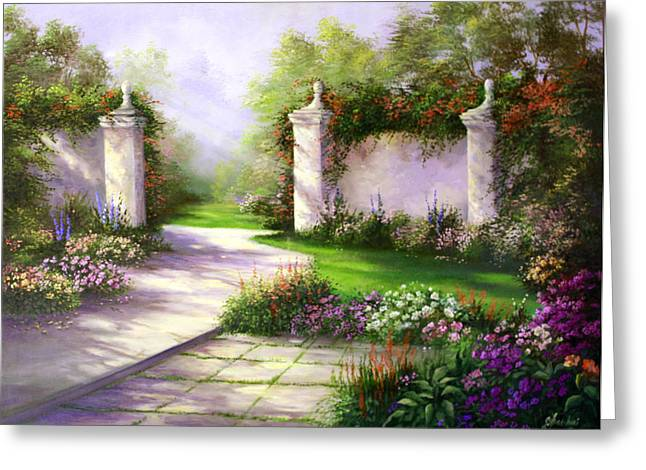 Gates In Menlo Park Greeting Card by Gail Salitui