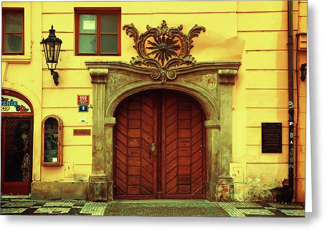 Greeting Card featuring the photograph Gates Of Sun. Series Golden Prague by Jenny Rainbow
