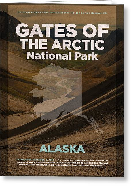 Gates Of The Arctic National Park In Alaska Travel Poster Series Of National Parks Number 20 Greeting Card by Design Turnpike