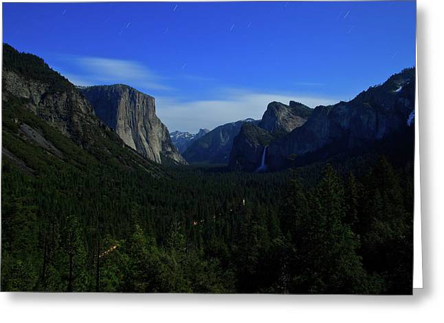 Gates Of Valley At Night Greeting Card by Carl Jackson