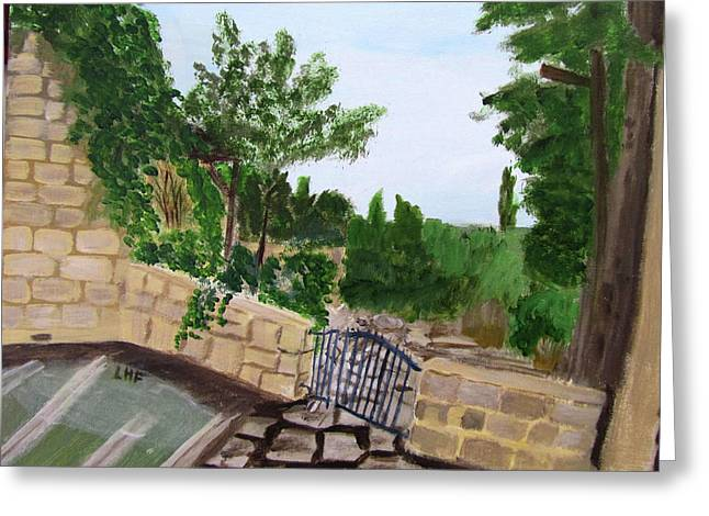 Greeting Card featuring the painting Gate's Open, Come In by Linda Feinberg