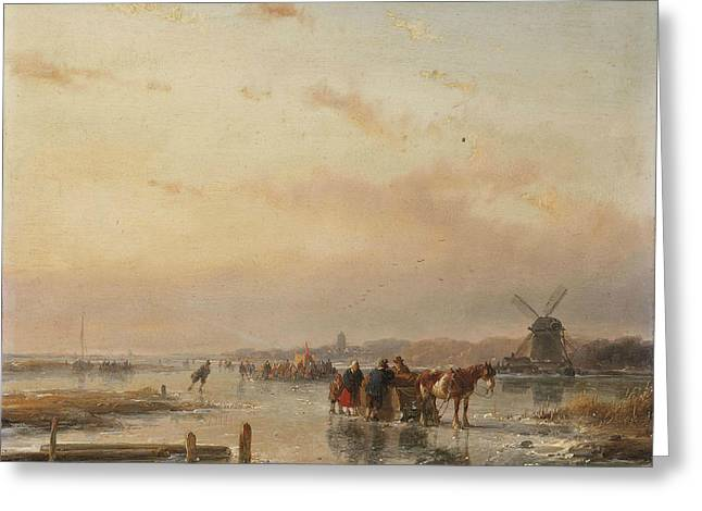 Gathered On The Ice At The End Of A Winter's Day Greeting Card