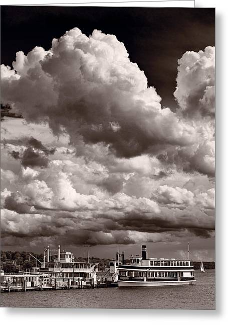 Gathering Clouds Over Lake Geneva Bw Greeting Card by Steve Gadomski