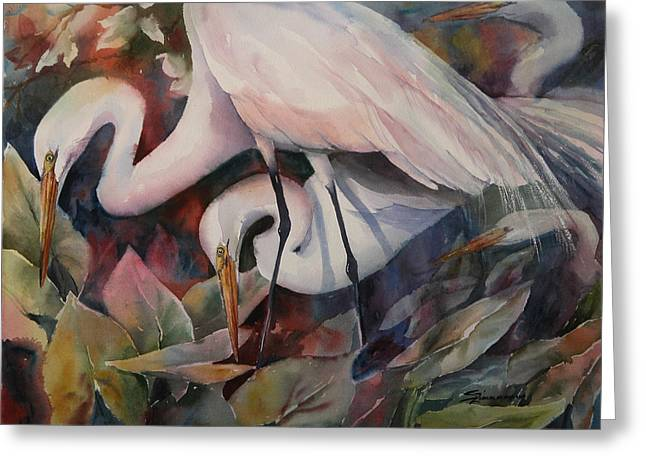 Gathering Egrets Greeting Card by Sue Zimmermann