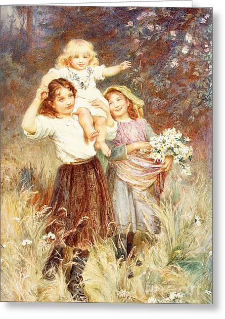 Gathering Flowers Greeting Card by Frederick Morgan