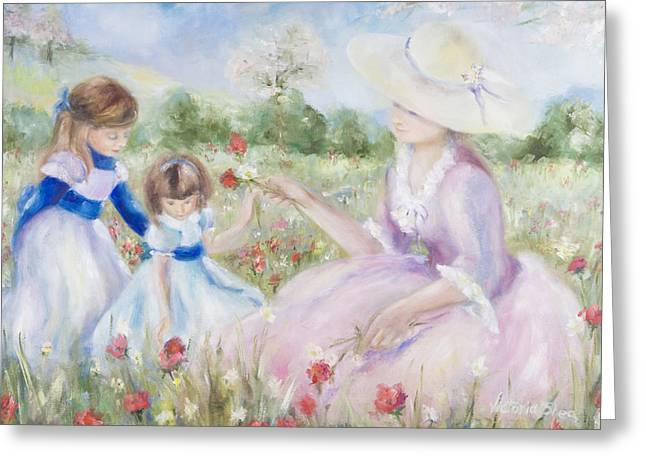 Gathering Flowers Greeting Card by Victoria  Shea