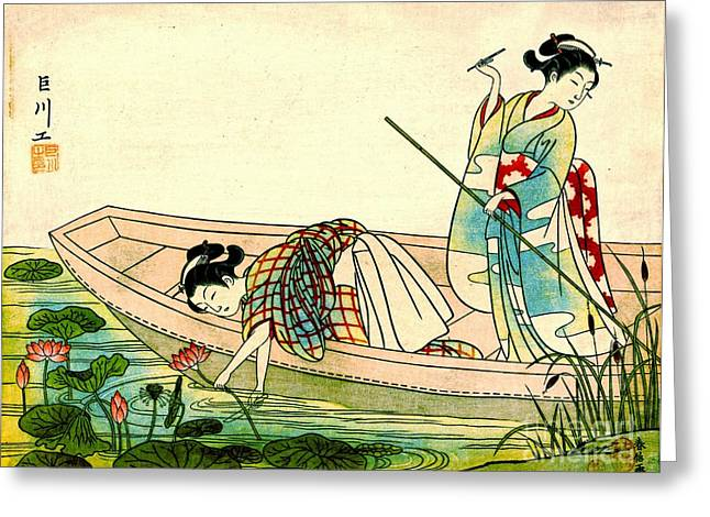 Gathering Lotus Blossoms 1765 Greeting Card by Padre Art