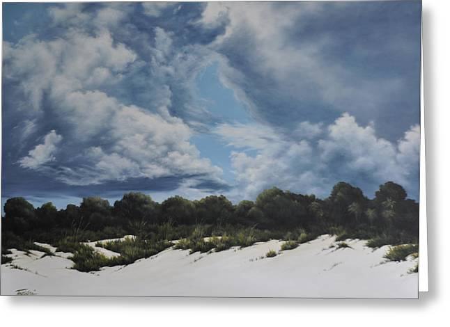 Turbulent Skies Paintings Greeting Cards - Gathering Storm Greeting Card by Mary Taglieri