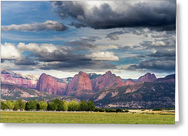 Gathering Storm Over The Fingers Of Kolob Greeting Card