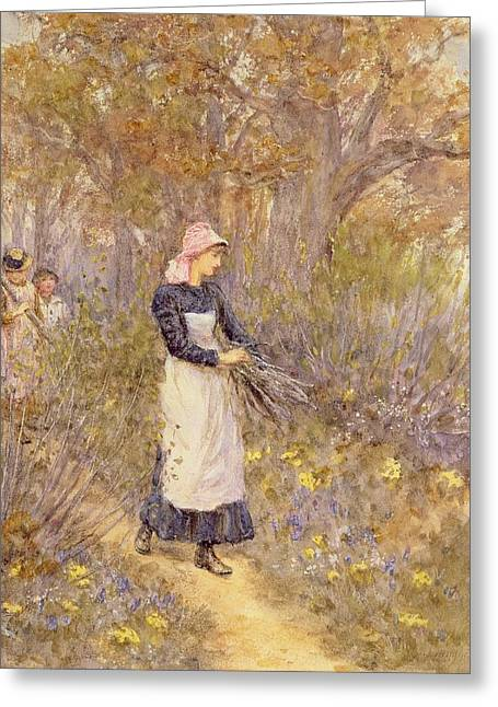 Three Children Paintings Greeting Cards - Gathering Wood for Mother Greeting Card by Helen Allingham