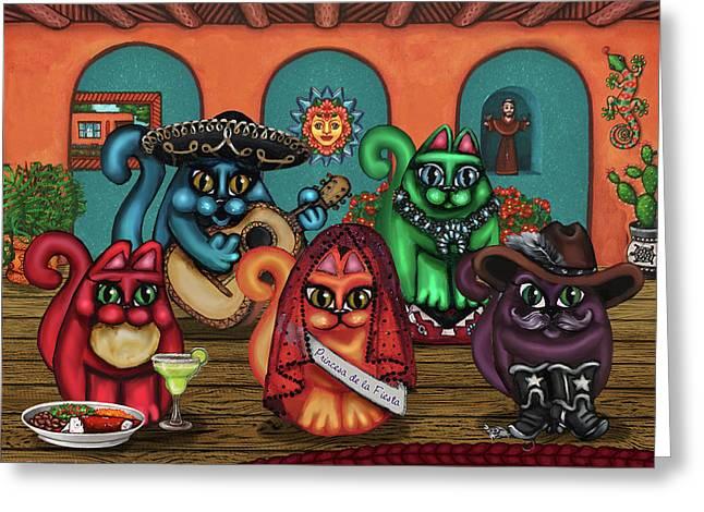 Gatos De Santa Fe Greeting Card by Victoria De Almeida
