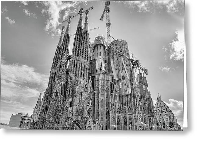 Gaudi La Sagrada Blk Wht Greeting Card