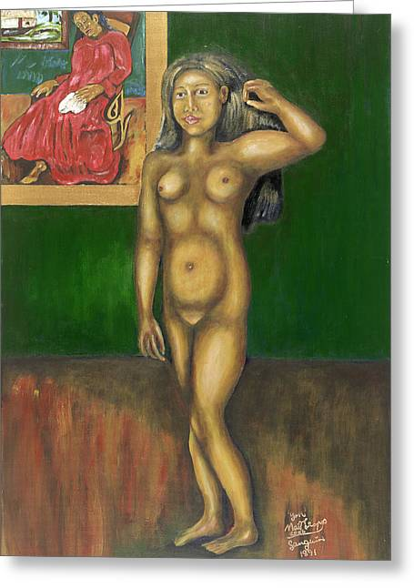 Gauguin Backgrounded Greeting Card by Neil Trapp